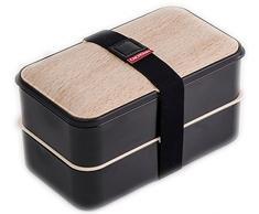 The Küchenzeile 5040441 Brotdose mit 2 Etagen, montierte de Luxe Kunststoff schwarz 18,5 x 10,9 x 10,2 cm 1200 ml