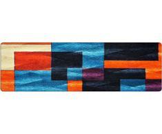 DECO-MAT Rutschfester Teppich-Läufer ohne Rand für den Innenbereich oder Eingangsbereich, 80 x 250 cm, blue - orange