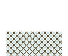 Laroom 14165-Teppich 150cm Bollato Küche Fliesen Blume Breite, Grün, Braun
