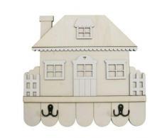 Dayka Trade Kleiderständer in Form eines Hauses, mit Garten-Design, mehrfarbig, Einheitsgröße