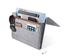 YUEMIDAMY Nachttisch Caddy Pocket, Home Sofa Nachttisch Schreibtisch Filz Hängeaufbewahrung Organizer Tasche Halter Medium hellgrau