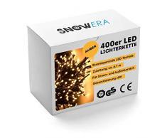 SnowEra 400er LED Lichterkette - Weihnachtsbeleuchtung für innen und außen mit zuschaltbarem Timer – perfekt für den Weihnachtsbaum | Tannenbaum – Lichtfarbe: bunt – Länge: ca. 50 m inkl. Zuleitung