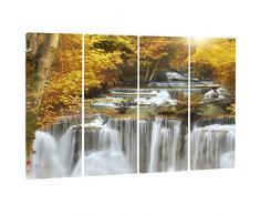 designart Herbst Huai Mae Kamin Wasserfall Metall Wand Kunst – mt7127, 48x28