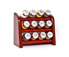 Gald Gewürzregal, Küchenregal für Gewürze und Kräuter, 12 Gläser, Holz, Braun/glänzend, 22 x 21 x 10 cm