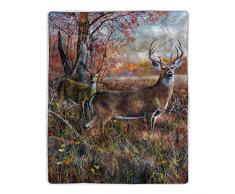 Lavish Home 64-Sherpa Fleecedecke Deer Print