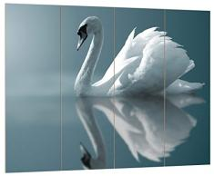 Pixxprint HBVs_2190_80x60 prächtiger Schwan spiegelnd in Wasser MDF-Holzbild im Bretterlook Wanddekoration, bunt, 80 x 60 x 2 cm