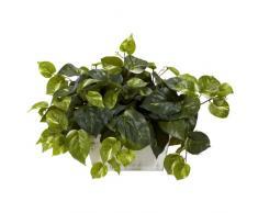 Nearly Natural 6713 Pothos mit weißem Übertopf, dekorative Seidenpflanze, grün