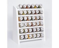 Gald Gewürzregal, Küchenregal für Gewürze und Kräuter, 36 Gläser, Holz, Weiß/glänzend, 31.5 x 41 x 16 cm