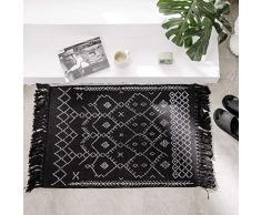 idee-home marokkanischer Flickenteppich, 61 x 91 cm, handgewebte Baumwolle, grau, Chindi mit Quasten, Überwurf, Fußmatte, für den Innenbereich, für Wohnzimmer, baumwolle, Schwarz , 2.0 ft x 3.0 ft