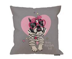 HGOD Designs Kissenbezug, Motiv: Bulldogge in einer lustigen rosa Herzbrille, gepunktetes Haarband, Baumwollleinen, Polyester, Dekoration, Sofa, Schreibtisch, Stuhl, Schlafzimmer, 40,6 x 40,6 cm 18x18 Inch A3-0009