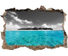 Pixxprint 3D_WD_4924_92x62 Malediven mit traumhaften azurblauen Wasser Wanddurchbruch 3D Wandtattoo, Vinyl, schwarz / weiß, 92 x 62 x 0,02 cm