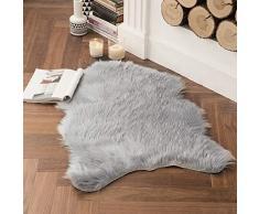 MIULEE Super weicher Flauschiger Teppich Kunstfell-Teppich Dekorativer Plüsch Zottelteppich für Nachttisch, Sofa, Boden, Kinderzimmer 2 x 3 ft Sheepskin grau