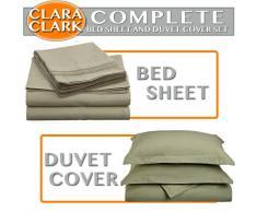 Clara Clark Bettwäsche-Set, 7-teilig, inkl. Spannbettlaken, Bettdecke, Kissenbezüge King salbeigrün