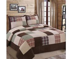 Cozy Line Home Fashions Sanders Quilt Betten Set, 100% echtes Patchwork gestreift Baumwolle, rot Marineblau Country Style, Überwurf, Tagesdecke, Wendedecke Set, Geschenk für Frauen Casual Queen - 3 piece Brown Grid