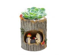 Segreto Creative Pflanzen Töpfen Pinsel Topf für Sukkulenten verziert Schreibtisch, Garten, Wohnzimmer mit Sweet Eichhörnchen, Igel, keramik, Tree Hole Hedgehog, Einheitsgröße
