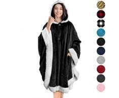 Pavillon Angel Wrap tragbare Poncho Decke Sherpa Besatz One Size schwarz