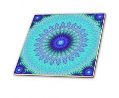 3dRose Frozen Mandala blau abstrakte Design Deko Fliesen, 12-inch-Ceramic, transparent