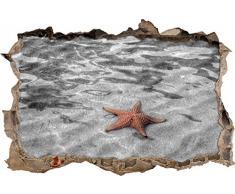 Pixxprint 3D_WD_S4179_92x62 ruhiger Seestern im glasklaren Wasser Wanddurchbruch 3D Wandtattoo, Vinyl, schwarz / weiß, 92 x 62 x 0,02 cm
