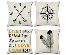 XIECCX Kissenbezüge, dekoratives Set, 4 Stück, Leinen-Baumwolle, für Sofa, Bett, Stuhl, Autositz, 45,7 x 45,7 cm 18X18 inch Kompass