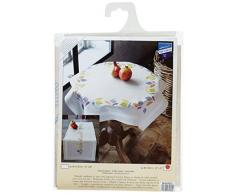 Vervaco Tischdecke Farbige Blätter bedruckte Decke/ Läufer mit Webrand, Baumwolle, Mehrfarbig, 80.0 x 80.0 x 0.30000000000000004 cm, 1 Einheiten
