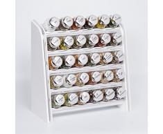 Gald Gewürzregal, Küchenregal für Gewürze und Kräuter, 30 Gläser, Holz, Weiß/glänzend, 31.5 x 34.5 x 14.5 cm