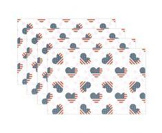 Vierte von Juli Amerikanische Flagge hitzebeständig Tischsets schmutzabweisend Tisch Matten waschbar Essen, Matte für Zuhause, Küche, Büro und Outdoor Modern Multi3