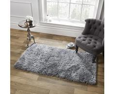 Dreamscene Sienna weicher Hochflor Shaggy Teppich Dick Flor 120 x 170 cm, Polyester, Silber grau, 170 x 5 x 120 cm