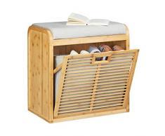 Relaxdays Schuhbank aus Bambus, gemütliche Sitzbank m. Polster, Schuhkipper bis zu 8 Paare, HBT: 53 x 51 x 34 cm, natur