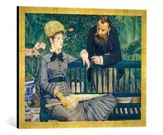 Gerahmtes Bild von Edouard Manet Das Ehepaar Guillemet im Gewächshaus, Kunstdruck im hochwertigen handgefertigten Bilder-Rahmen, 70x50 cm, Gold Raya