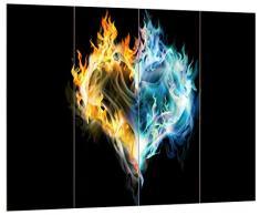 Pixxprint Wasser und Feuer Herz, MDF Bretterlook Format: 80x60cm, Wanddekoration Holzbild, Holz, bunt, 80 x 60 x 2 cm