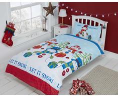 Christmas Kids Weihnachten Kinder Eisbär Pinguine Weihnachts Quilt Bettbezug und 2Kissenbezüge Bettwäsche-Set, Mehrfarbig, Doppel
