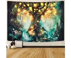 Sevenstars Wald-Märchen-Wandteppich, Laterne, Wandteppich, Wasserfälle unter Baum des Lebens Gobelin Psychedelischer Wald, Fantasiebaum-Wandteppich für Zimmer (70,9 x 92,5 Zoll), Waldfee