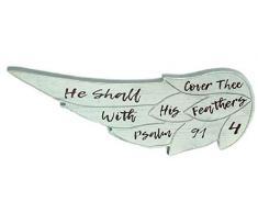 Spirit & Truth Home Decor Wandtafel He Shall Cover Thee Wing, tiefes Waschbecken, Kratzfest mit Glanz-Finish, 17,75 x 17,8 x 0,75 cm