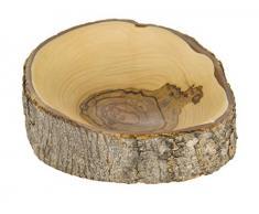 Holzschale, aus Olivenholz, mit Borke, rund, Fair Trade, handgefertigt