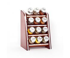 Gald Gewürzregal, Küchenregal für Gewürze und Kräuter, 12 Gläser, Holz, Braun/glänzend, 17 x 27 x 15 cm