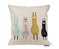 HGOD DESIGNS Llama Kissenbezug, lustiges Cartoon-Design, Baumwolle, Leinen, Polyester, Dekoration, Sofa, Schreibtisch, Stuhl, Schlafzimmer, 40,6 x 40,6 cm 18x18 Inch A13-0097
