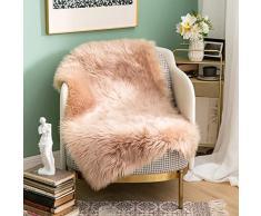 MIULEE Super weicher Flauschiger Teppich Kunstfell-Teppich Dekorativer Plüsch Zottelteppich für Nachttisch, Sofa, Boden, Kinderzimmer 2 x 3 ft Rectangle Khaki