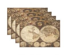 The Globe Weltkarte hitzebeständig Tischsets schmutzabweisend Tisch Matten waschbar Essen, Matte für Zuhause, Küche, Büro und Outdoor Modern Multi13