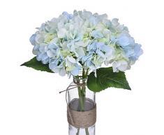 Anna Homey Decor Künstliche Blumen, Hortensien, Seide, Blau, 33,8 cm hoch, für Hochzeit, Brautstrauß, Couchtisch, Badezimmer, Wohnzimmer-Dekoration, 3 Stück blau