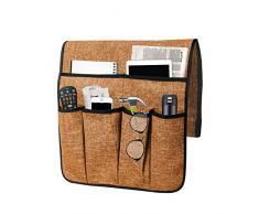 COVA Leinen-Sofa-Armlehnen-Organizer, Couch-Armlehnen, Stuhl Caddy mit 7 Taschen, Fernbedienungshalterung, Zeitschriftenhalter, Aufbewahrung, Organizer, drapiert über Sofa, Couch, Lehnstuhl Armlehne Baumwollkaffee