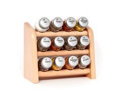 Gald Gewürzregal, Küchenregal für Gewürze und Kräuter, 12 Gläser, Holz, Naturell/matt, 22 x 21 x 10 cm