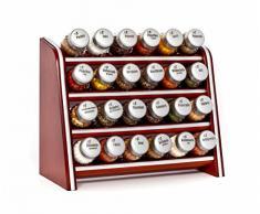Gald Gewürzregal, Küchenregal für Gewürze und Kräuter, 24 Gläser, Holz, Braun/matt, 31 x 27 x 15.5 cm