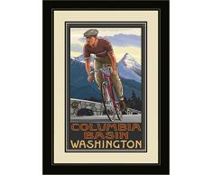 Northwest Art Mall pal-0832 fgdm DHB Columbia Waschbecken Washington Downhill Biker blau gerahmtes Wandbild Art von Künstler Paul A. lanquist, 16 by 22