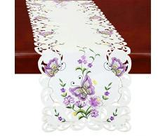 Simhomsen Spring Butterfly und Blumen Tisch Kommode, Läufer, Schal 14 by 108 inch Violett