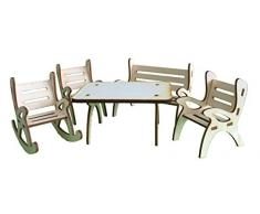 Petras Bastel News A-GMH08FS2 Tischgruppe, bestehend aus 1 x Tisch, 1 x Gartenbank, 1 x Schaukelstuhl und 2 Stühle aus Holz, 5-teilig