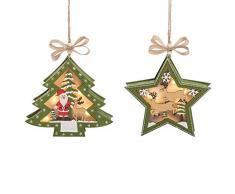 C&F Home Stewarts Winter Village LED Baum Stern Wald grün 14 cm Holz Deko Hängende Weihnachten Ornamente Set 2 Stück