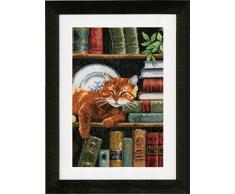 Vervaco Zählmusterpackung Katze im Bücherregal Aida Kreuzstichpackung, Weiß, 25 x 35 x 0,30 cm