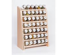 Gald Gewürzregal, Küchenregal für Gewürze und Kräuter, 42 Gläser, Holz, Naturell/glänzend, 31.5 x 47 x 17 cm