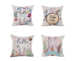 LEIOH Happy-Kissenbezüge, Osterhase und Frühlingsblumen, dekorativ, 4 Stück, Sofabezug, Hase, Kissenbezüge, 45,7 x 45,7 cm