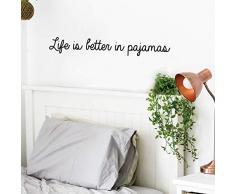IMPRINTED DESIGNS WALL DECALS Vinyl-Wandaufkleber - Life is Better in Pyjamas - 10,2 x 76,2 cm - modernes lustiges Zitat für Zuhause, Schlafzimmer, Badezimmer, Schrank, Kinderzimmer Dekoration